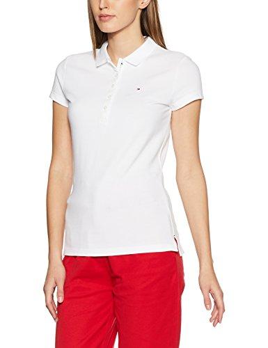 Tommy Hilfiger Damen Poloshirt New Chiara STR PQ Polo SS, Weiß (Classic White 100), 40 (L)