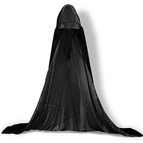 YaoDgFa Unisex Halloween Kostüm Karneval Fasching Costume Umhang Cape Cosplay Kapuze Vampir Zauberer für Damen Herren Erwachsene/Kinder, Schwarz, 110cm(Höhe150-170cm)