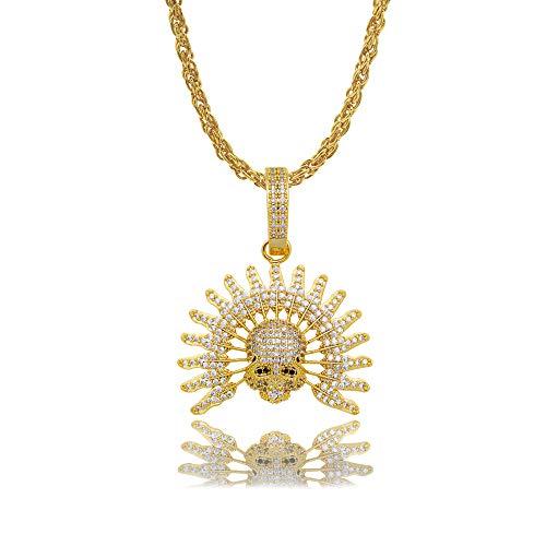 o Pave Skeleton Schädel Anhänger Halsketten Kubikzircon Iced Out Kette Punk Schmuck Geschenk,Gold ()