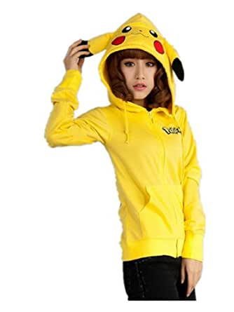 Pokemon Pikachu Hoodie Zip Top Hoodies Sweatshirt Jacket (L(UK10-12))