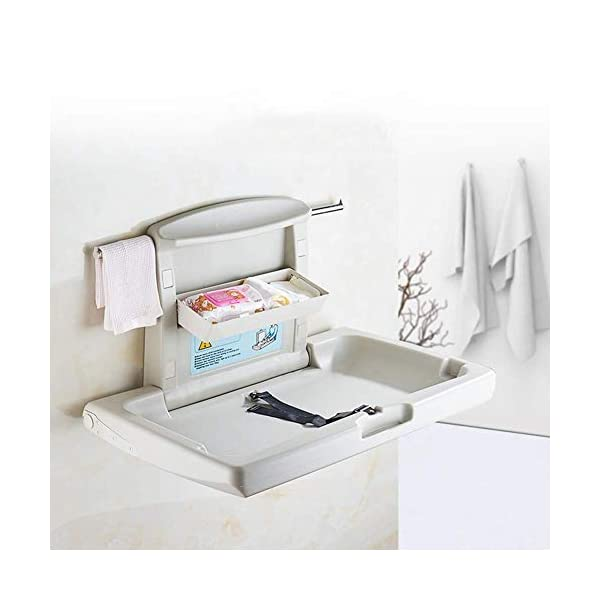 Wall Mounted Infant Changing Station Horizontal Folding, Nursery Organizer Diaper Table with Safety Straps (Gray) GUYUE Thick antibacterial HOPE / high density polyethylene materia, safe and non-toxic, reducing cross-contamination, effective anti-static. Compliance: Hydraulic jack design, safe controlled opening and closing. Size- As shown, 86x58x49cm(1cm=0.39 inch) Suitable for babies weighing less than 35kg. 3