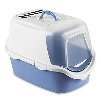 Zolux Cathy Easy Clean Maison de Toilette pour Chat Blanc/Bleu Clair 56 x 40 x 40 cm
