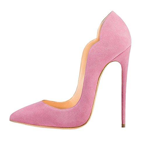 EDEFS Damen High Heels | Stiletto Spitzer Schuhe | 12cm Pinken Pumps | Bequeme Hochzeitsschuhe Pink Größe EU42