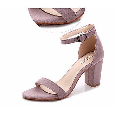 RUGAI-UE Sommer Mode Frauen Sandalen Schuhe Casual PU Komfort Fersen, Grau, US 6 / EU 36/UK4/CN 36 Almond