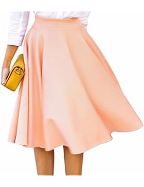 QIYUN.Z Las Mujeres De Color Solido OL De Cintura Alta Completos Plisados Grandes Dobladillo Faldas Midi Moda