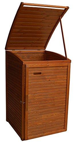 Andrewex Mülltonnenbox für 1 Tonnen 97 x 75 cm 240 Liter aus Holz, Braun Teak Pinie Anthrazit Grau Cream Mülltonnenschrank Mülltonnenverkleidung