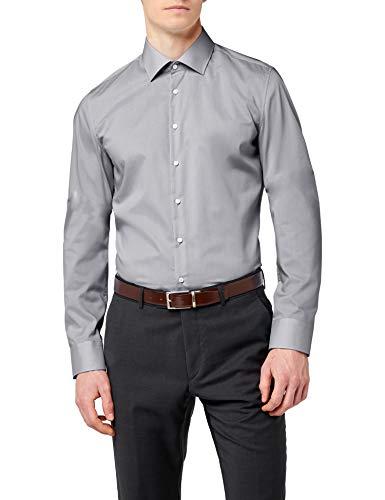 Seidensticker Herren Business Hemd Slim Fit - Bügelfreies, schmales Hemd mit Kent-Kragen - Langarm - 100{3979ad534fab30c185c2d53d290f8e6dec6738f03cc39870dbff96fe511cac7a} Baumwolle , Grau (Grau 32) , 41 cm