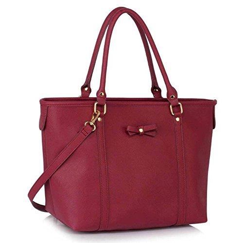 TrendStar Handtasche der Frauen faux Leder Damen Dekorative Bow Tie-Schulter-Beutel Burgund