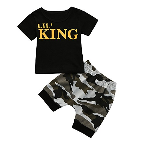 Junjie Toddler Kids T Shirt Tops+Camouflage Shorts Set, Baby Boys Letter Outfits Clothes (3T, Black)