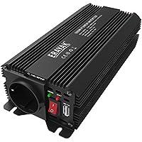 Erayak 500W Wechselrichter TÜV Zertifiziert, DC 12V auf AC 230V Spannungswandler, Konverter mit 1 EU Buchse, 1 USB Ports, Zigarettenanzünder Stecker, Autobatterieclips