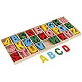 R H Lifestyle Colourful Wooden Letters Alphabets Set (of 6 Each) - Wooden Craft Letters With Storage Tray - - (Multi, Small)