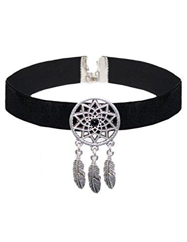 Choker schwarz Samt Traumfänger silber Halsband Kropfband Bandkette Samtband Collier Halskette Dreamcatcher ethno Damen