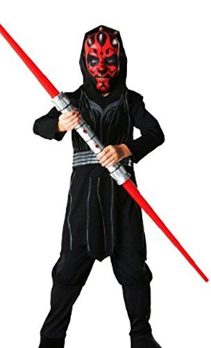 Karneval Komplettkostüm Darth Maul Star Wars Anzug, schwarz, 7-8 Jahre (Luke Skywalker Kostüme Schwarz)