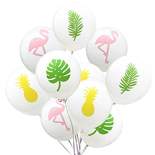 Lazeny 20pcs Flamingo Luftballons Ballons Latex Ballon Ananas Turtle Blatt Partyballon Hawaiian Luau Tropical Party Deko für Hochzeit Valentinstag Geburtstag Baby Shower Party Supplies