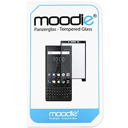 moodie BlackBerry Key2 Panzerglas 3D Folie - Premium Glasfolie für Gewölbte Displays Full Screen 3D Panzerglasfolie Curved - Full Cover vollständige Display Abdeckung (Schwarze Kanten)