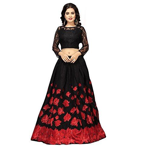 Nena Fashion Women\'s Satin Semi-stitched Lehenga Choli (Black and Red, Free Size)