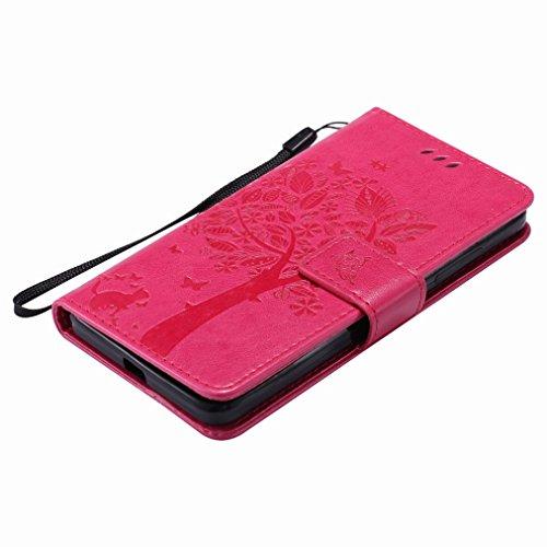 Custodia Microsoft Lumia 650 Cover Case, Ougger Fortunato Foglia Stampa Portafoglio PU Pelle Magnetico Stand Morbido Silicone Flip Bumper Protettivo Gomma Shell Borsa Custodie con Slot per Schede (Gri Rosa