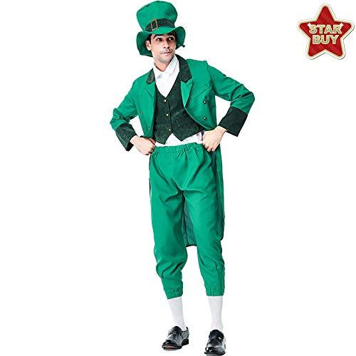 Kobold Kostüm Hunde - COSOER Irisches Kobold-Kostüm Alice-Reihen-Elfen-Kleidung Der Männer Für St Patrick Tag Halloween,MaleBlue-XL