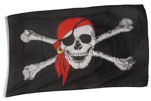 BestSaller 1527 Piraten-Flagge, Totenkopf, groß, 90x150 cm, schwarz/weiß/rot (1 (Piraten Flagge)