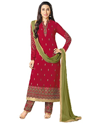 Jesti Designer Women\'s Maroon Georgette Embroidery Staight A Line Latest Party Wear Designer Straight Anarkali Semi Stitched Free Size Salwar Suit Dress Material With Dupatta (Shuhati-23006 -Dress Ma
