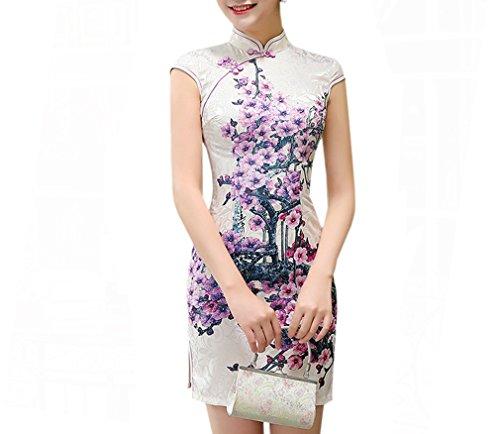 XueXian(TM) Damen Sommer Chinesisch Mini Kleid Qipao mit Blumen Malerei in Zwei Farben (EU 32-34 China/S, Weiß+Lila) (Lila Und Weiß-malerei)