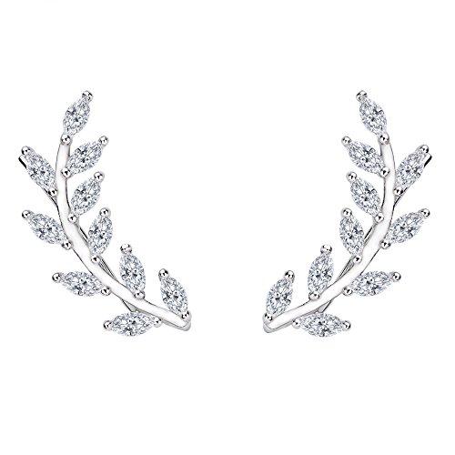 Womens Leaf (Flyonce Women's 925 Sterling Silver Cubic Zirconia Leaf Ear Cuff Climber Wire Wrap Sweep Stud Earrings)