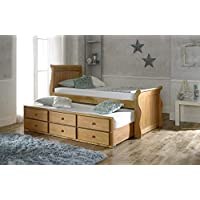 Artisan Captains Oak Guest Bed - 3 Drawer Storage - Pull Out Trundle Bed - 3FT Single
