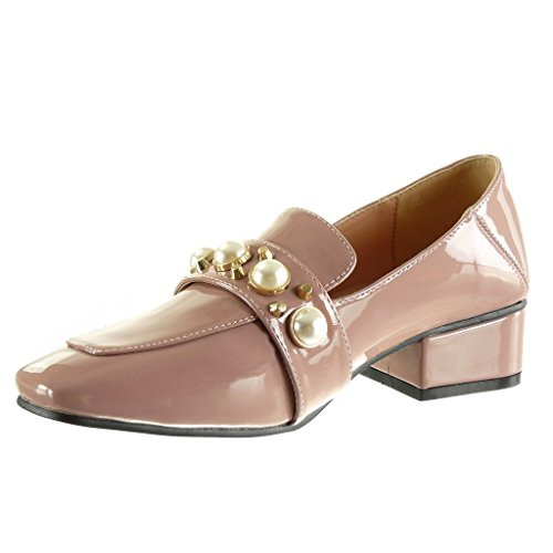 Angkorly - Chaussure Mode Mocassin slip-on femme clouté perle verni Talon haut bloc 4 CM Rose