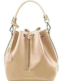 81415314 VITTORIA - Schultertasche Secchiello aus Leder, Schwarz Tuscany Leather