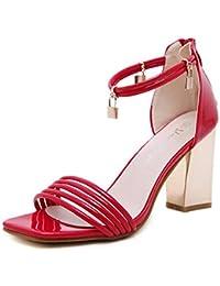SHINIK Mujeres Corte Zapatos Talones Abiertos Sandalias Sandalias de Ocaso Sandalias de Tacón Alto , red , 39