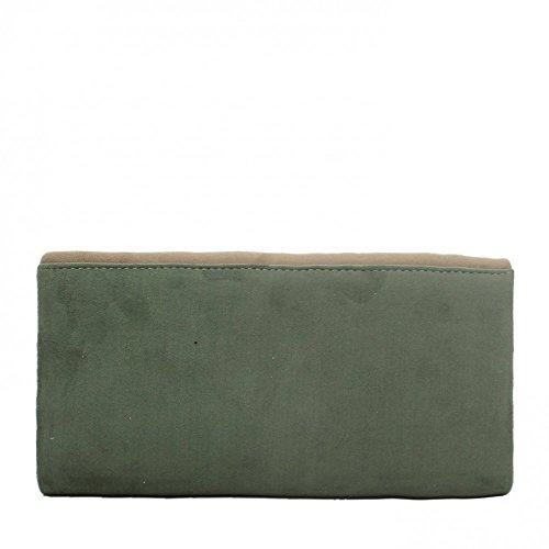 Ideal Shoes–by Swan–Pochette effetto camoscio con parte Glitter vanny verde