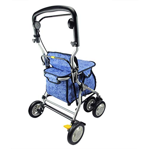 Walker Shopping Cart Crutches Aluminium Folding Portable Shopping Cart Ältere vierrädrige Laufkatze Leichter Walker Buy Food Truck Rollstuhlgewicht 80kg ( Color : BLUE , Size : 47*51.5*83.5CM )