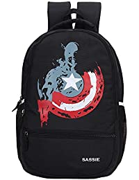Sassie 31 LTR Black School Bag/Casual Backpack with Laptop Compartment (SSN-1092)