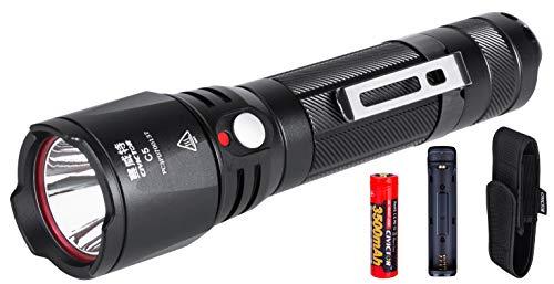 Kleine Led Taschenlampe Set mit Batterie 18650 Taschenlampe Akku Outdoor Taschenlampe Led Extrem Hell 900 Lumen Wasserdichte Taschenlampe Klein mit Tasche Clip Mini Flashlight Licht Camping Laterne -
