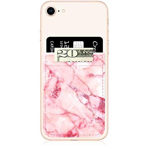 iDecoz Handy-Fächer, zum Ankleben, Kreditkartenfächer, schmales Kartenfach, universell passend für Apple iPhone Samsung Galaxy und mehr, Blush Marble Leather