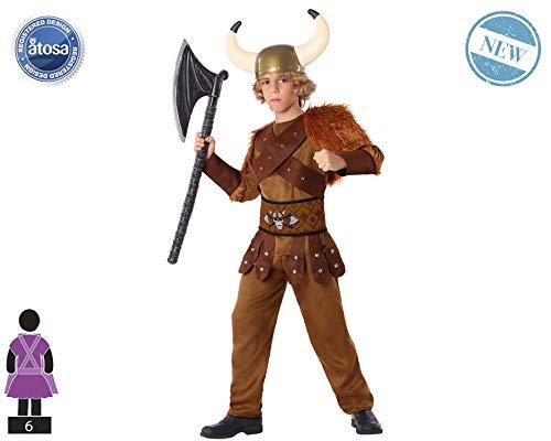 Atosa-61492 Atosa-61492-Disfraz Vikingo-Infantil NIño, Color marrón, 7 a 9 años (61492