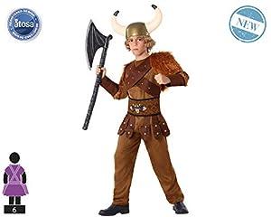 Atosa-61493 Atosa-61493-Disfraz Vikingo-Infantil NIño, Color marrón, 10 a 12 años (61493