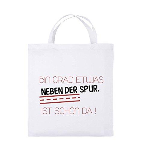 Comedy Bags - Bin grad etwas neben der Spur. Ist schön da! - Jutebeutel - kurze Henkel - 38x42cm - Farbe: Schwarz / Weiss-Neongrün Weiss / Schwarz-Rot