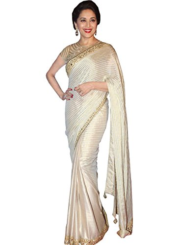 Isha Enterprise Fancy Net, Lycra Silk Saree (Kfp-540_Cream)