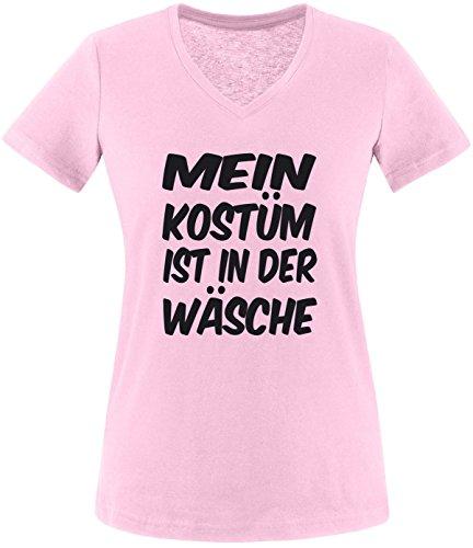Luckja Mein Kostüm ist in der Wäsche Damen V-Neck T-Shirt Rosa/Schwarz