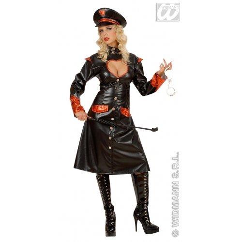 Damen Kostüm Punisher Lack Look Sexy Uniform Soldatin Offizierin Fasching Karneval Rollenspiel Verkleidung