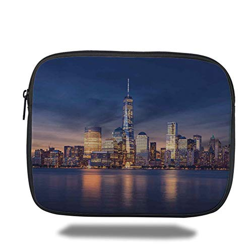 Tablet Bag for Ipad air 2/3/4/mini 9.7 inch,Cityscape,New York City Manhattan After Sunset View Picture with Skyline Reflection on River,Navy Gold,Bag - New York-slim Briefcase