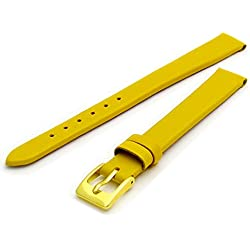 Fine Calf Leather Watch Strap Band 14mm Extra-Long XL Bright Yellow with Gilt (Gold Colour) Buckle. Free Spring Bars (Watch Pins)