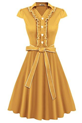HOTOUCH Mujer Vestido Amarillo Vintage Retro 1950s 'Audrey Hepburn' Ro