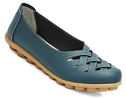 Fangsto Women's Leather Loafers Flats Sandals Slip Ons UK Size 6 Dark Teal