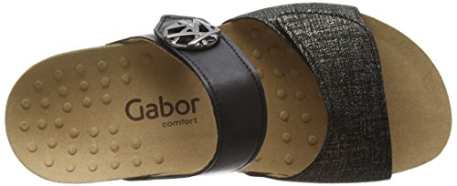 Gabor  Shani, Sabots femme Noir - Black (Black Leinen Metallic/Leather)