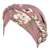 Harpily India Hat Musulmano Hat la Chemioterapia per il Cancro Cancro Copricapo Femminile Turbante Turbante Scarfs Pac con Stampato Floreale Wrap Cap (rosa)