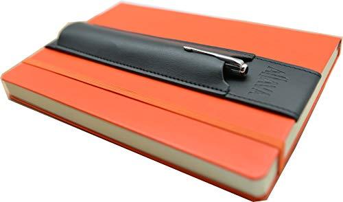 skors Stifthalter ALJAVA für A5 Notizbuch, Kalender oder Bullet Journal mit Hardcover - Kunstleder Schwarz - Stiftehalter A5 Notizbuch