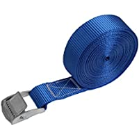 Correa de amarre cinturón de amarre con hebilla en diferentes longitudes y cantidades resistente a 250 kg DIN EN 12195-2, Paquete:10 piezas - 2.5 cm x 6 m