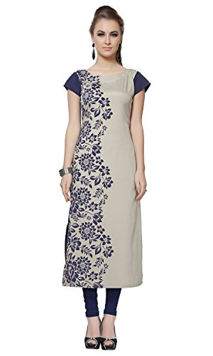 Ziyaa Light Grey Colour Boat Neck With Cap Sleeve Faux Crepe Digital Print Kurti  available at amazon for Rs.379